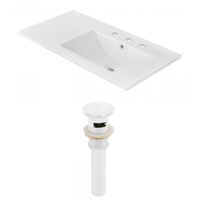 Drake 36 Single Bathroom Vanity Top Faucet Mount: 8 Centers, Drain Color: White