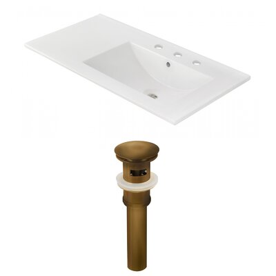 Drake 36 Single Bathroom Vanity Top Faucet Mount: 8 Centers, Drain Color: Antique Brass