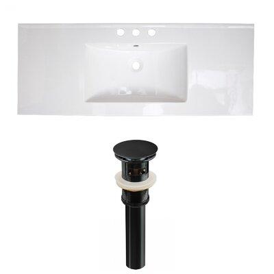 Ceramic 40 Single Bathroom Vanity Top Faucet Mount: 8 Centers, Drain Color: Black