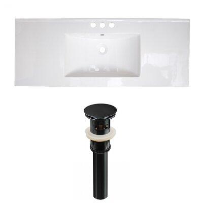 Ceramic 40 Single Bathroom Vanity Top Faucet Mount: 4 Centers, Drain Color: Black