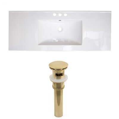 Ceramic 40 Single Bathroom Vanity Top Faucet Mount: 4 Centers, Drain Color: Gold