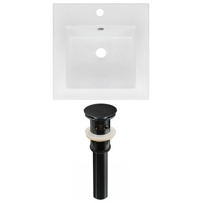 Ceramic 17 Single Bathroom Vanity Top Faucet Mount: Single, Drain Color: Black