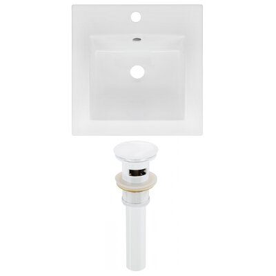 Ceramic 17 Single Bathroom Vanity Top Faucet Mount: Single, Drain Color: White