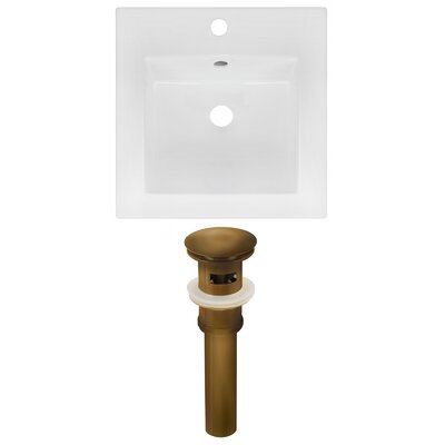 Ceramic 17 Single Bathroom Vanity Top Faucet Mount: Single, Drain Color: Antique Brass