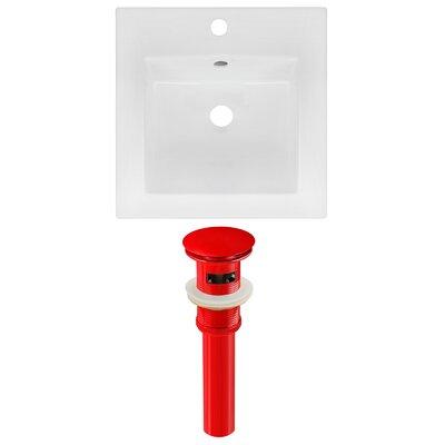 Ceramic 17 Single Bathroom Vanity Top Faucet Mount: Single, Drain Color: Red