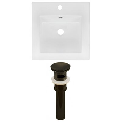 Ceramic 17 Single Bathroom Vanity Top Faucet Mount: Single, Drain Color: Oil Rubbed Bronze