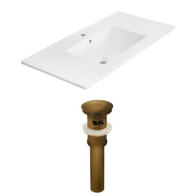 Drake 36 Single Bathroom Vanity Top Faucet Mount: Single, Drain Color: Antique Brass