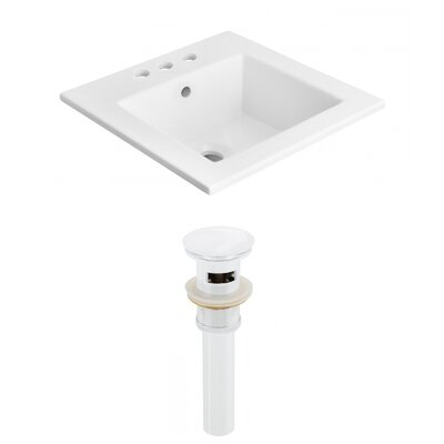 Ceramic Rectangular Drop-In Bathroom Sink with Faucet and Overflow Faucet Mount: 4 Centers, Drain Finish: White