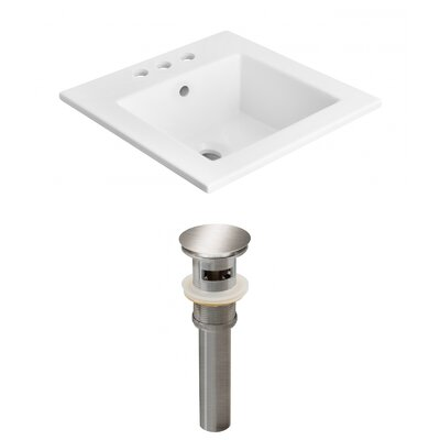 Ceramic Rectangular Drop-In Bathroom Sink with Faucet and Overflow Faucet Mount: 4 Centers, Drain Finish: Gray