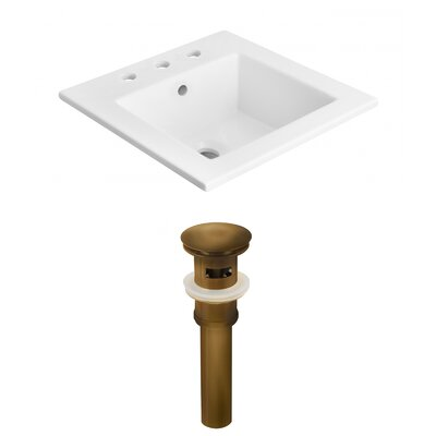 Ceramic Rectangular Drop-In Bathroom Sink with Faucet and Overflow Faucet Mount: 8 Centers, Drain Finish: Brown