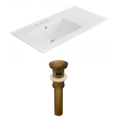 Ceramic 36 Single Bathroom Vanity Top Faucet Mount: 4 Centers