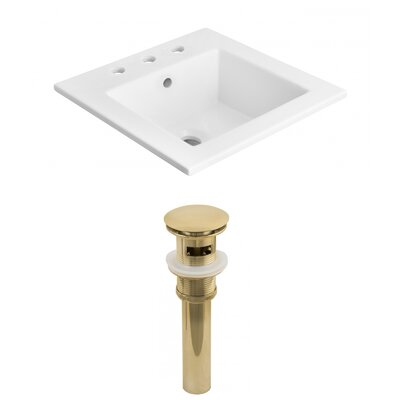 Ceramic Rectangular Drop-In Bathroom Sink with Faucet Faucet Mount: 8 Centers, Drain Finish: Gold
