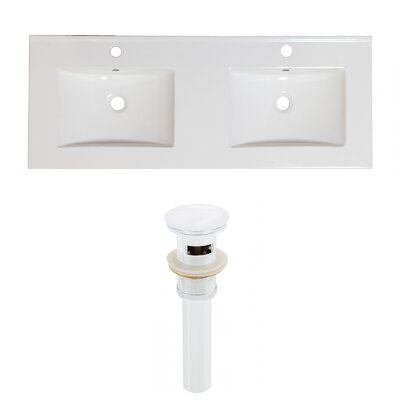 Xena Ceramic 59 Double Bathroom Vanity Top Faucet Mount: Single, Overflow Cap Color: White