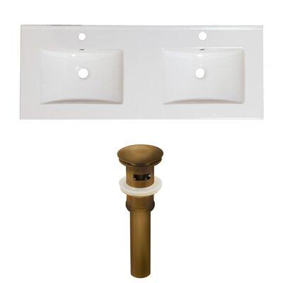 Xena Ceramic 59 Double Bathroom Vanity Top Faucet Mount: Single, Overflow Cap Color: Antique Brass