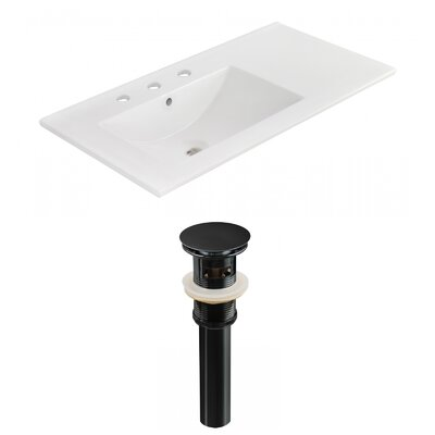 Drake 36 Single Bathroom Vanity Top Faucet Mount: 8 Centers, Drain Color: Black