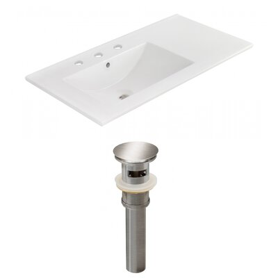 Drake 36 Single Bathroom Vanity Top Faucet Mount: 8 Centers, Drain Color: Brushed Nickel