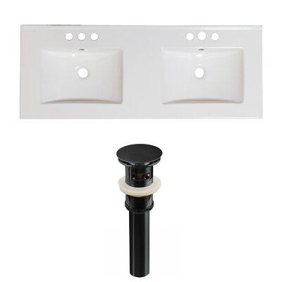 Ceramic 59 Double Bathroom Vanity Top Faucet Mount: 4 Centers