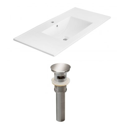 Drake 36 Single Bathroom Vanity Top Faucet Mount: Single, Drain Color: Brushed Nickel