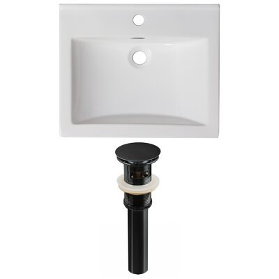 Vee Ceramic 21 Single Bathroom Vanity Top Faucet Mount: Single, Drain Color: Black
