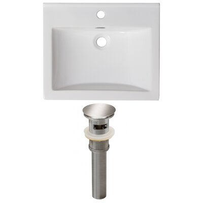 Vee Ceramic 21 Single Bathroom Vanity Top Faucet Mount: Single, Drain Color: Chrome