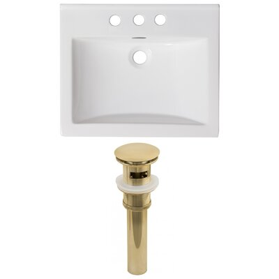 Vee Ceramic 21 Single Bathroom Vanity Top Faucet Mount: Single, Drain Color: Gold