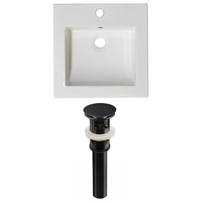 Ceramic 22 Single Bathroom Vanity Top Faucet Mount: Single, Overflow Cap Color: Black
