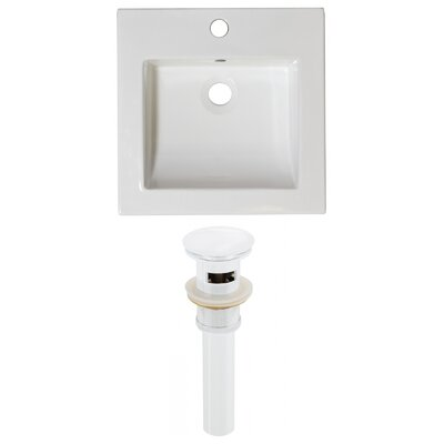 Ceramic 22 Single Bathroom Vanity Top Faucet Mount: Single, Overflow Cap Color: White