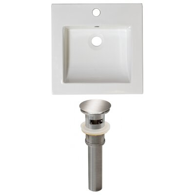 Ceramic 22 Single Bathroom Vanity Top Faucet Mount: Single, Overflow Cap Color: Chrome