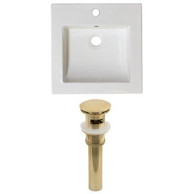 Ceramic 22 Single Bathroom Vanity Top Faucet Mount: Single, Overflow Cap Color: Gold