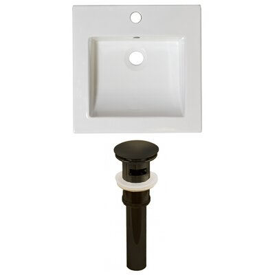 Ceramic 22 Single Bathroom Vanity Top Faucet Mount: Single, Overflow Cap Color: Oil Rubbed Bronze