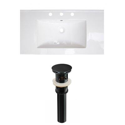 Flair Ceramic 37 Single Bathroom Vanity Top Faucet Mount: 8 Centers, Drain Color: Black