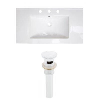 Flair Ceramic 37 Single Bathroom Vanity Top Faucet Mount: 8 Centers, Drain Color: White