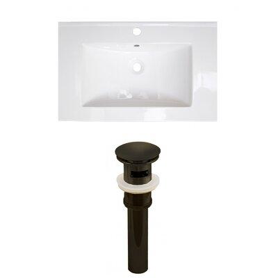 Vee Ceramic 21 Single Bathroom Vanity Top Faucet Mount: Single, Drain Color: Oil Rubbed Bronze