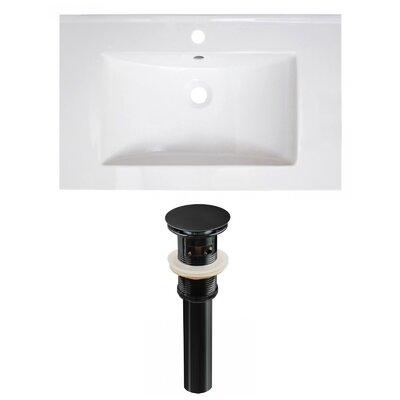 30 Single Bathroom Vanity Top Faucet Mount: Single, Drain Color: Black