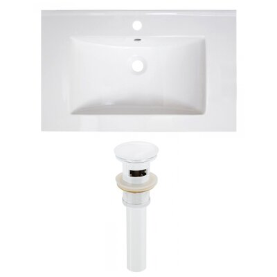 30 Single Bathroom Vanity Top Faucet Mount: Single, Drain Color: White