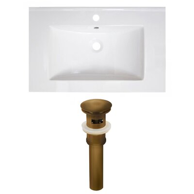 30 Single Bathroom Vanity Top Faucet Mount: Single, Drain Color: Antique Brass