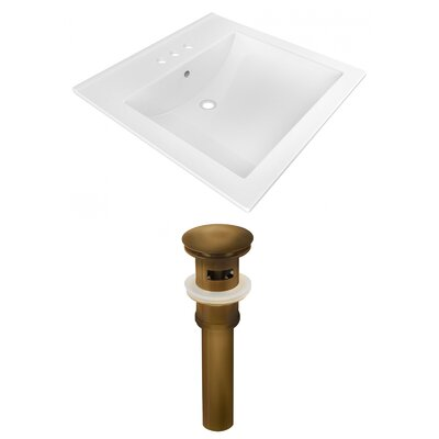 Ceramic Rectangular Drop-In Bathroom Sink with Faucet Faucet Mount: 4 Centers, Drain Finish: Brown