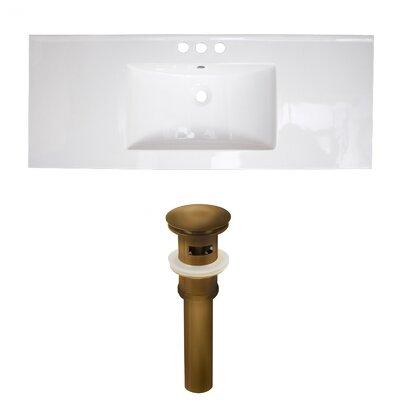 Flair Ceramic 48 Single Bathroom Vanity Top Faucet Mount: 4 Centers, Drain Color: Antique Brass