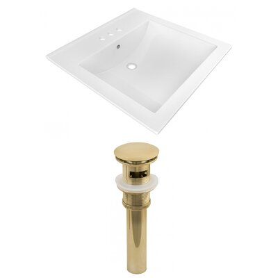 Ceramic Rectangular Drop-In Bathroom Sink with Faucet Faucet Mount: 4 Centers, Drain Finish: Gold