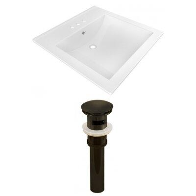 Ceramic Rectangular Drop-In Bathroom Sink with Faucet Faucet Mount: 4 Centers, Drain Finish: Black