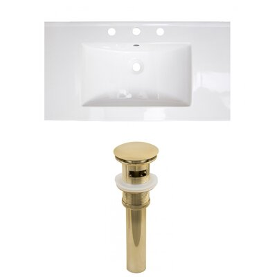 Flair Ceramic 37 Single Bathroom Vanity Top Faucet Mount: 8 Centers, Drain Color: Gold