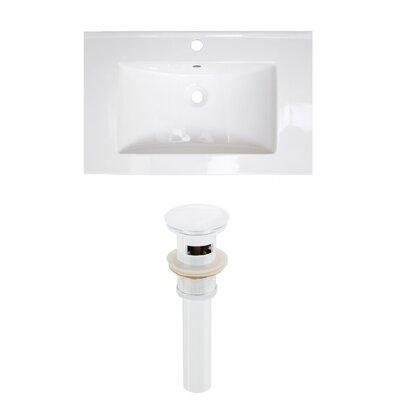 Roxy Ceramic 24 Single Bathroom Vanity Top Faucet Mount: Single, Drain Color: White