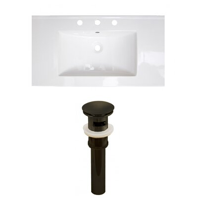 Ceramic 37 Single Bathroom Vanity Top Faucet Mount: 8 Centers