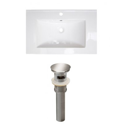 Roxy Ceramic 24 Single Bathroom Vanity Top Faucet Mount: Single, Drain Color: Stainless Steel