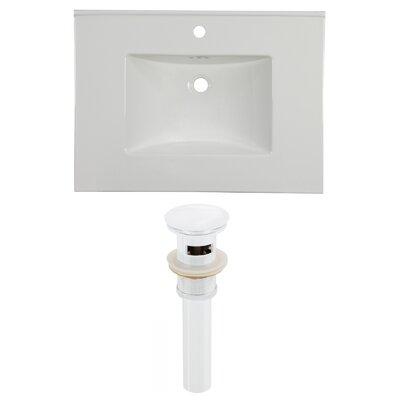 31 Single Bathroom Vanity Top Faucet Mount: Single, Overflow Cap Color: White