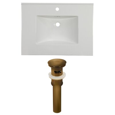 31 Single Bathroom Vanity Top Faucet Mount: Single, Overflow Cap Color: Antique Brass