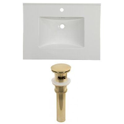 31 Single Bathroom Vanity Top Faucet Mount: Single, Overflow Cap Color: Gold