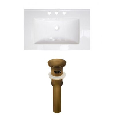 Roxy Ceramic 24 Single Bathroom Vanity Top Faucet Mount: 4 Centers, Drain Color: Antique Brass