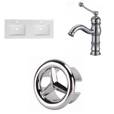 1 Hole Ceramic 59 Double Bathroom Vanity Top