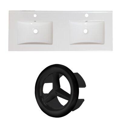 Xena Ceramic 59 Double Bathroom Vanity Top Faucet Mount: Single, Overflow Cap Color: Black